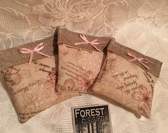 BURLAP BLOSSOM Sachets with Pink Box, set of 3 drawer sachets, Delightful Japanese Cherry Blossom, great gift
