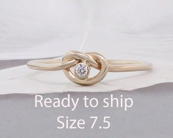 Ready to ship - size 7.5 14k Gold Knot Ring • Promise Ring • Commitment Ring • Diamond Stack Ring • Diamond Love Knot • Engagement Ring