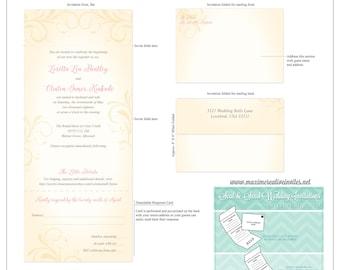 Vintage Flourish Seal and Send Invitation - All In One Invitation - Perforated RSVP Card - Folding Wedding Invitation - Self Mailer