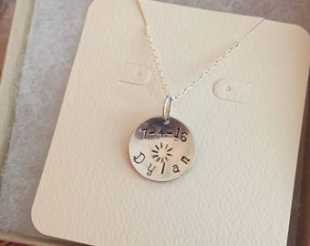 Sterling Silver Hand Stamped Personalized Pendant - 3/4 inch Disc Only