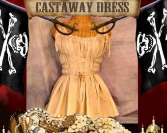 Castaway Corset Dress Lace Up Dance Beige Khaki Eco Gretel Fairytale Pirate Anime Custom Tea Dyed Tan Ren Faire Dance Womens Renaissance