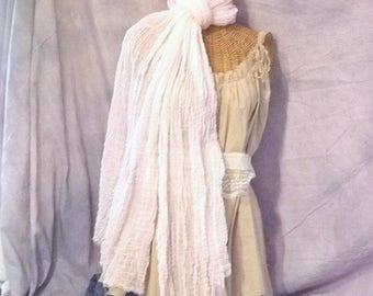 Womens Scarf White Dove Shawl Wrap Beach Bride Long Cotton Summer Fashion