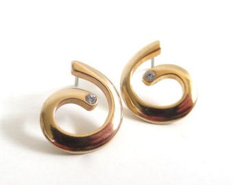 Vintage 80's Avon // Rhinestone Swirl Earrings