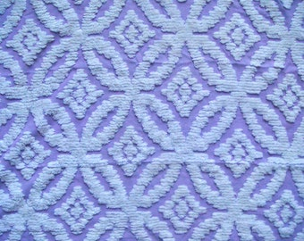 Lavender Wedding Ring on Sculpted Plush Vintage Cotton Chenille Bedspread Fabric 12 x 24 Inches