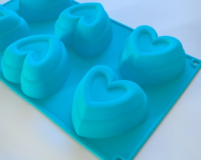 FRAMED HEART Soap Mold, Silicone, 6- 4oz Cavities