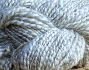 Hand Spun Wool Yarn 160 yards Natural Grey and Creme No dyes