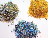 "Glass Pebble Rocks, Beach Decor Glass Pebbles, Blue Yellow Brown Terrarium Rocks, Terrarium Pebbles, Glass Rocks, ""3x4"" Bag - 3 Colors"
