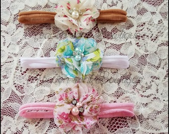 Baby headband SET,Baby Headband,Baby girl flower headbands, Baby Bows, Newborn headbands,Nylon Headbands,Baby hair bows,Flower Headband,Baby