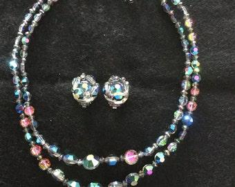 Vintage AB Aurelia Borealis 2 Strand Crystal Bead Necklace & Earrings