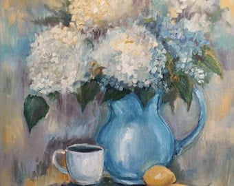 Original Oil Painting, Impressionist painting, floral art ,pastel, blue, romantic art, hydrangeas