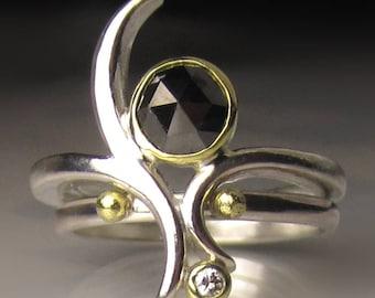 Rose Cut Black Diamond Engagement Ring, Black Diamond Bridal Set, 18k Gold and Sterling Silver