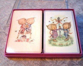 Vintage Playing Cards, Double Deck Set, Betsey Clark, Hallmark Plastic Box, Bridge Card Game Plastic Coated, Ephemera Supplies, DYI Gift Tag