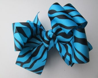 Blue Zebra Print Double Boutique Stacked Bow,  LArge 4 inch Turquoise Blue Hair Bow, Zoo Animal Bow, Wild and Crazy Blue Zebra Hair Bow