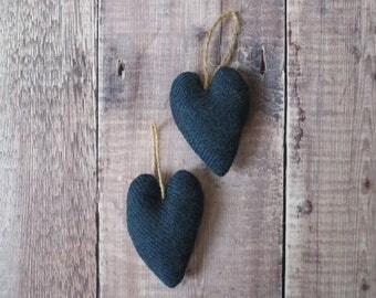 SALE - Navy Stripe Tweed Heart Decoration