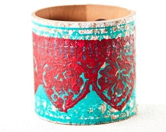 Turquoise & Red Bracelet Leather Jewelry For Women