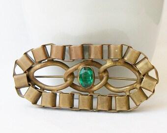 ON SALE Vintage Brass Link Brooch