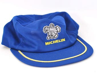 Vintage Cap Hat Relaxed Distressed Michelin man Unstructured Authentic Vintage Baseball Cap 80s Royal Blue