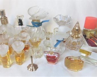 Vintage Perfume Bottle Lot Miniatures Samples Lalique France Nina Ricci L'Air du Temps 20 piece +