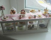 Dollhouse miniature bakery display  filled