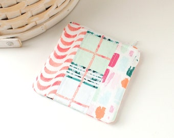 Pink and Mint Plaid Coin Purse Colorful Change Purse Plaid Gift Card Holder