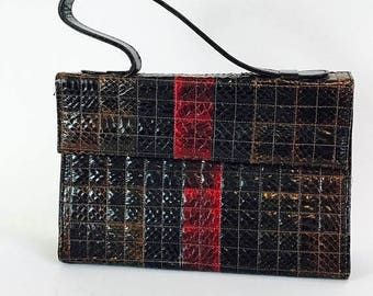 Spring SALE 25% Vintage 1960s Snake Skin Handbag Oxblood Red Brown Square Reptile Patchwork Leather Top Handle Pocketbook 60s Mad Men Era Pu