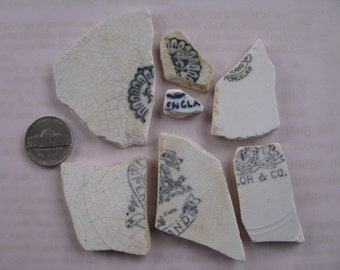 Sea Pottery with Stamps Beach Pottery Marks 7 Pieces Real New England Sea Glass White China with Makers Stamps Porceain