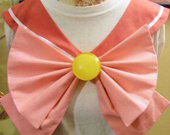 Disney Inspired Sailor Scout Aurora - Deep Pink Collar, Pink Bow, Yellow Brooch