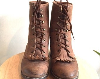 Brown Leather Laced Boot // Laredo // Size 7 1/2