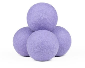 Natural Wool Dryer Balls - Lavender, 100% Wool, Natural Vegetable-Based Dyes, Chemical-Free, Multiple Pack Sizes Available