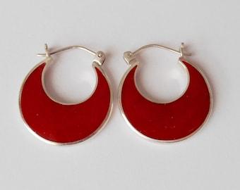 Sterling Silver red Coral hoop earrings / 1 inch long / silver 925 / Bali handmade jewelry / (#24m)