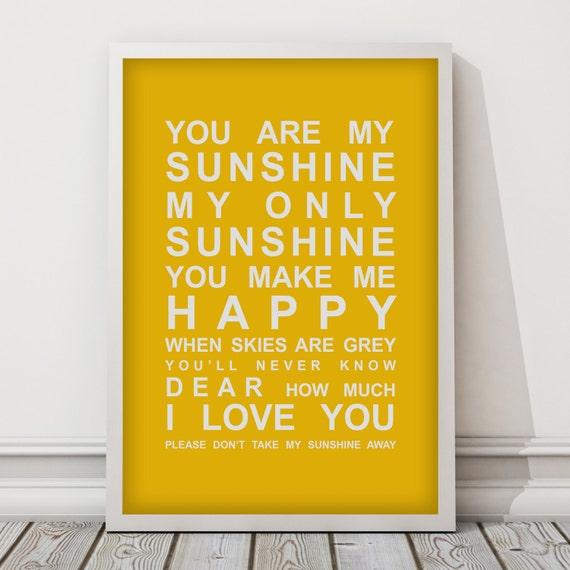 You are my Sunshine Nursery Wall Art Print