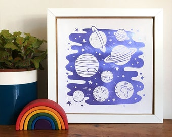 Solar System Foil Art Print, Space themed Print, planets print, Sci-Fi Art, Space Art, Foil Block Print, Science Print, Childrens Room Art
