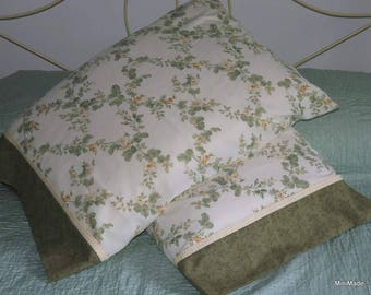 Pillowcase Pair, Green with Yellow Floral, Shabby Chic, Upcycled, Quiltsy Handmade