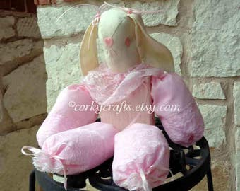 Easter Bunny shelf sitter, baby shower decor, nursery pink table decor, one of a kind