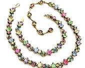 Hollycraft 1955 Pretty Pastel Necklace and Bracelet Set