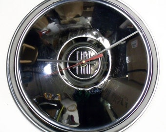 1957 - 1967 Fiat 1200 1500 Hubcap Wall Clock - Hub Cap Industrial Decor - 1958 1959 1960 1961 1962 1963 1964 1965 1966