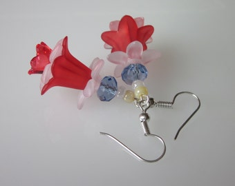 Lucite Flower Earrings, Red White & Blue Flower, 4th of July, Lucite Jewelry, Summer Wedding