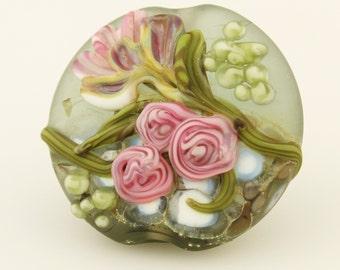 Lampwork Bead  Floral Lentil Focal Pastel, Etched Glass, Green, Pink, SRA