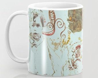 Mug Art, coffee mugs ceramic. Home drinkware Art, Art breakfast mugs, turquoise girl red flowers