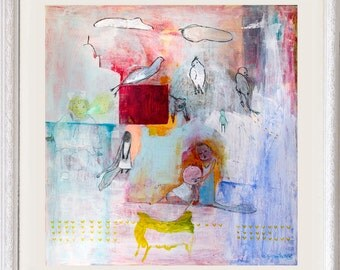 Fine Art Giclee Print, birds girls print, full color, modern wall art print by Ana Gonzalez
