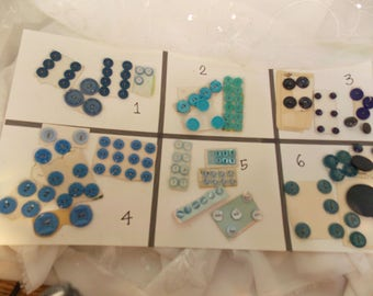 Vintage Blue Buttons~Assorted Vintage Buttons~DIY Button Jewelry~DIY Crafting Buttons