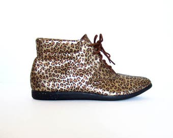 Vintage Metallic Shoes Leather Boots Leopard Print Ankle Boots Lace Up Boots Flats Gold Boots