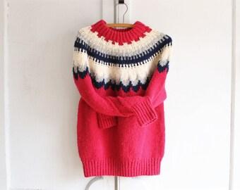 vintage 70s chunky fair isle sweater Brooks Brothers