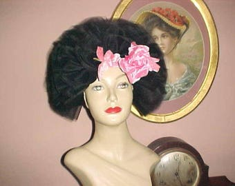 Vintage 60s Hat Hollywood Regency BOUFFANT Net MARIA PIA Rome New York Dramatic Movie Star Style So Audrey Hepburn