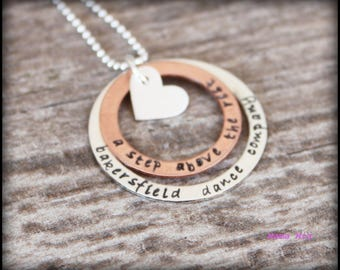 Hand Stamped Necklace, Hand Stamped Family Necklace, Grandma Necklace, Stacked Necklace, Layered Necklace, Mixed Metal Necklace, Mama Mia