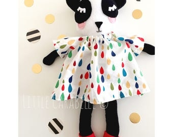 Panda Dolly Custom Handmade Rag Doll, Dolly, Softie, Panda Doll with Rainbow bright dress and shoes. Perfect for playtime Ce tested.