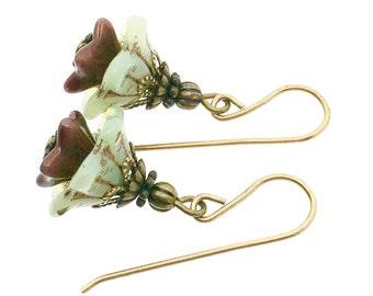 Czech glass flower earrings, glass flower earrings, botanical earrings, floral drops, bronze glass earrings, green glass drop earrings
