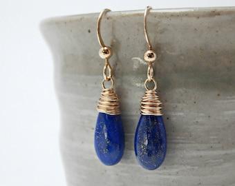 lapis lazuli. 14k gold fill. ancient blue gemstone. egyptian jewelry. gold and blue earrings. throat chakra jewelry. yoga gift. adirondack.