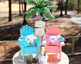 """Beach Wedding Topper BASE ATTACHED! FITS 6"""" Cake Top Rustic Honeymoon Beverage Read Details! Custom Made To Order Your Colors. Read Details!"""