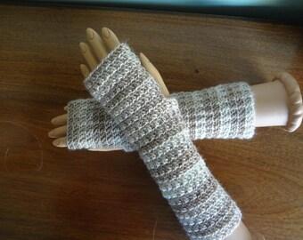 Crochet Finger Less Fingerless Tan Taupe Coffee Milk Chocolate Brown BeigeStripe  Arm Warmers, Gloves, Fingerless Winter, Warm